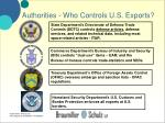 authorities who controls u s exports