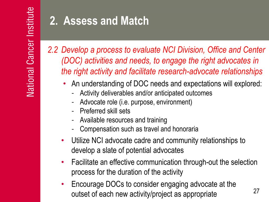 2.  Assess and Match