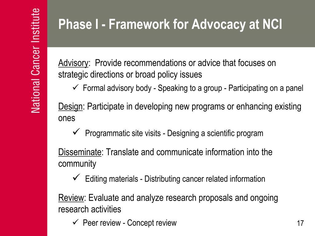 Phase I - Framework for Advocacy at NCI