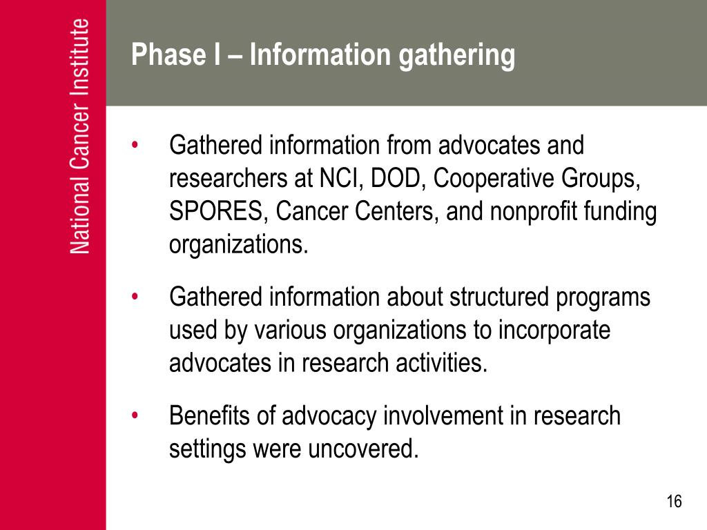 Phase I – Information gathering