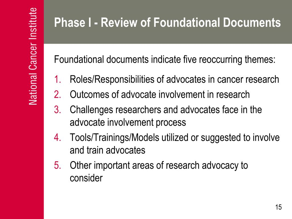 Phase I - Review of Foundational Documents