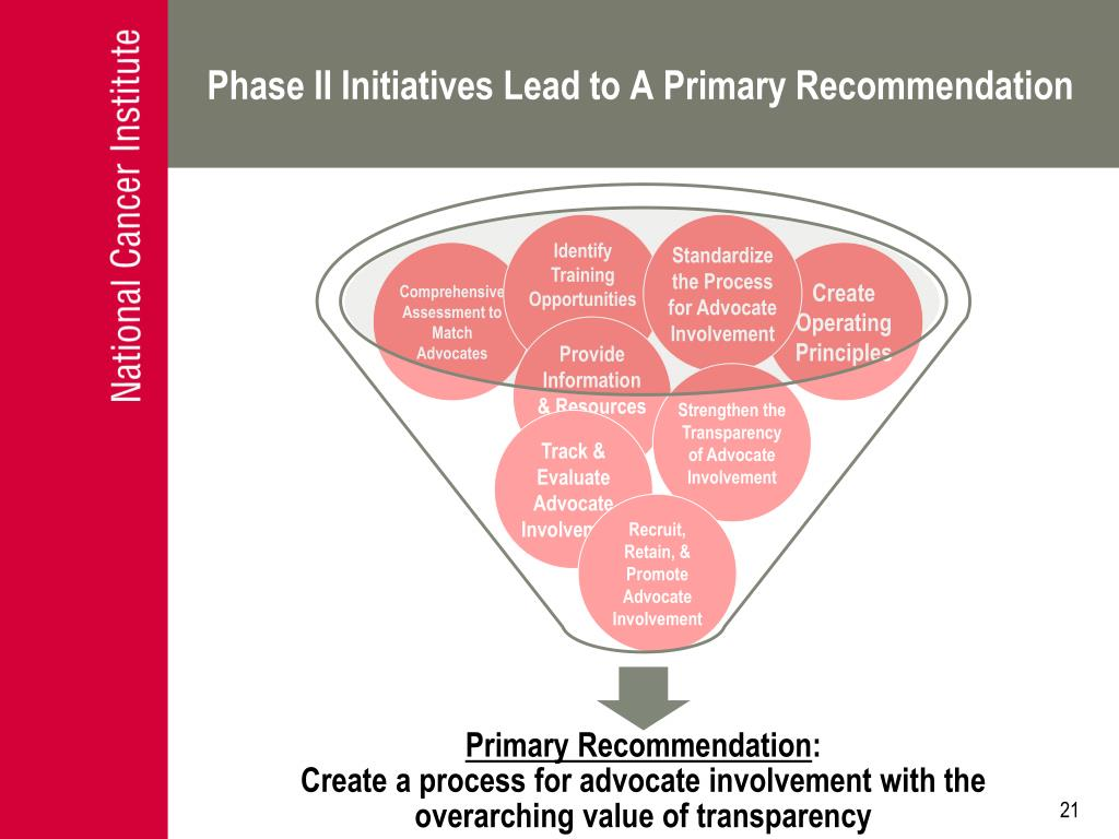 Phase II Initiatives Lead to A Primary Recommendation