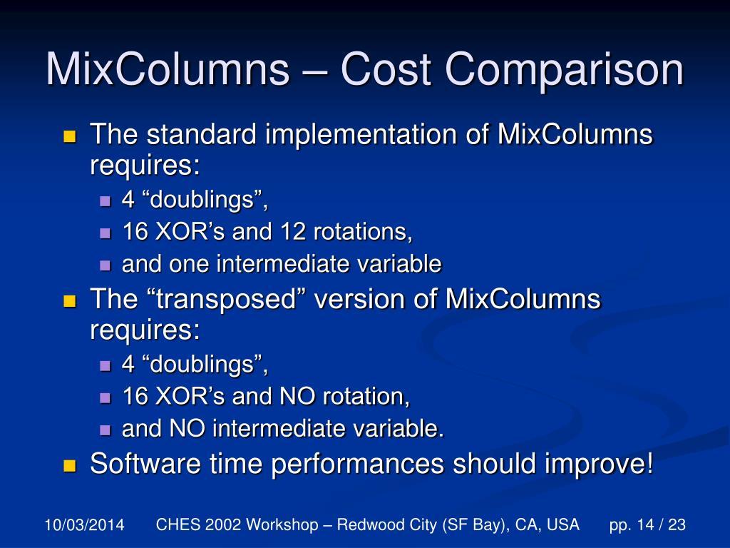 MixColumns – Cost Comparison
