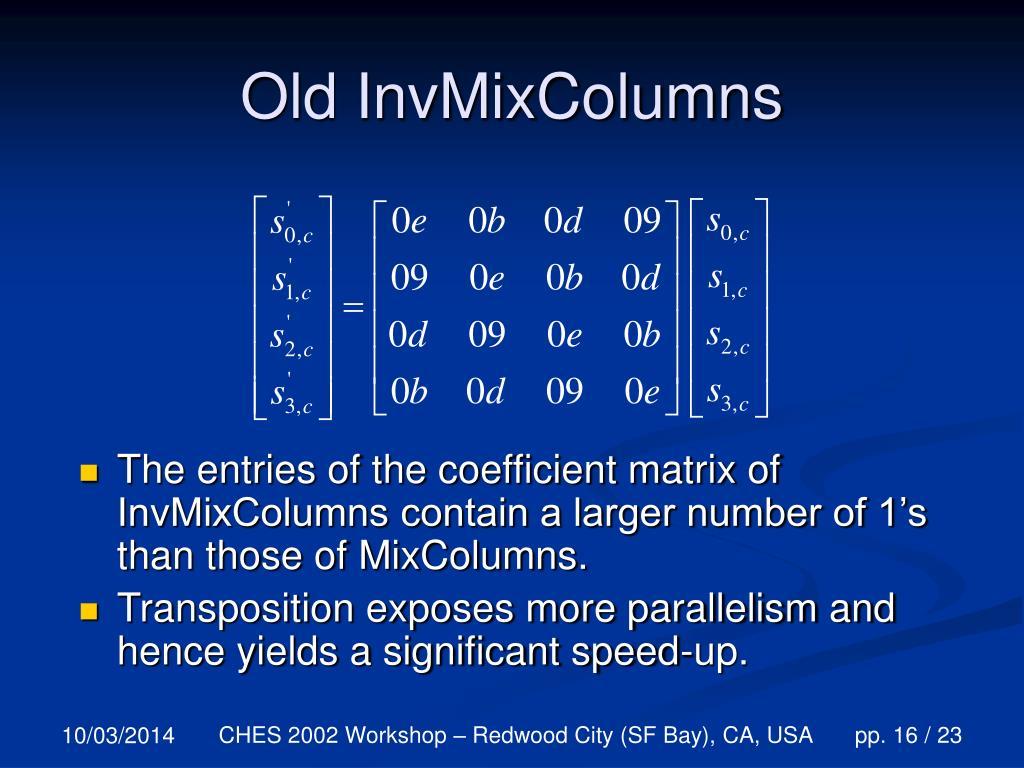 Old InvMixColumns