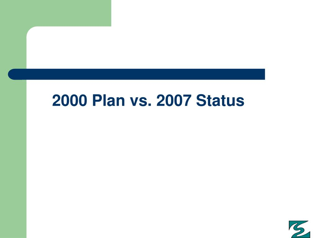 2000 Plan vs. 2007 Status