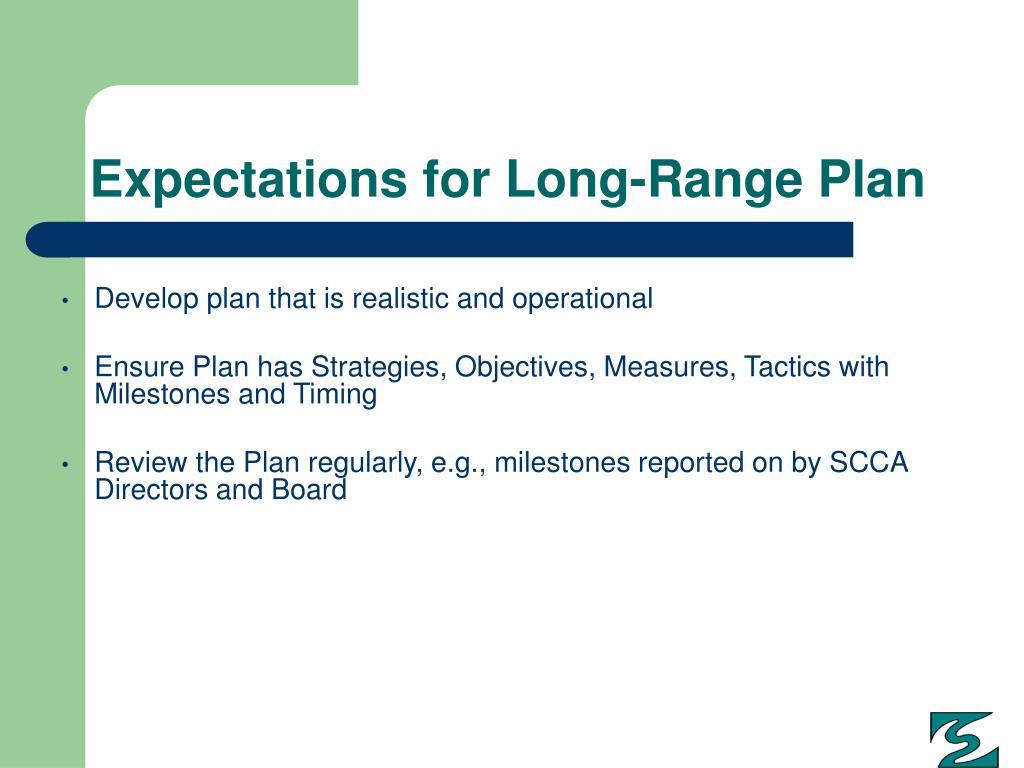 Expectations for Long-Range Plan