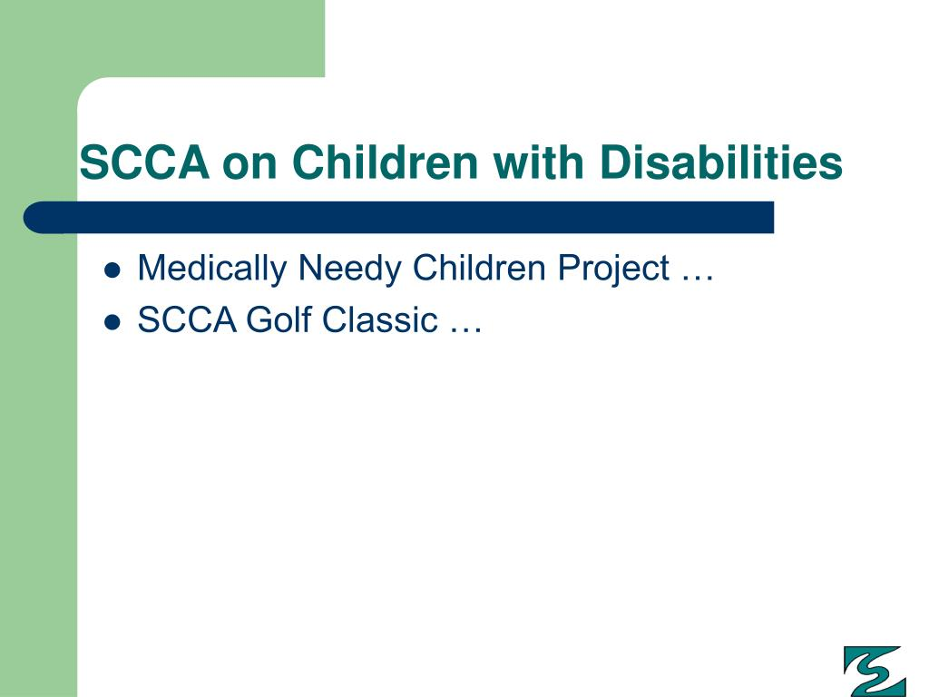 SCCA on Children with Disabilities