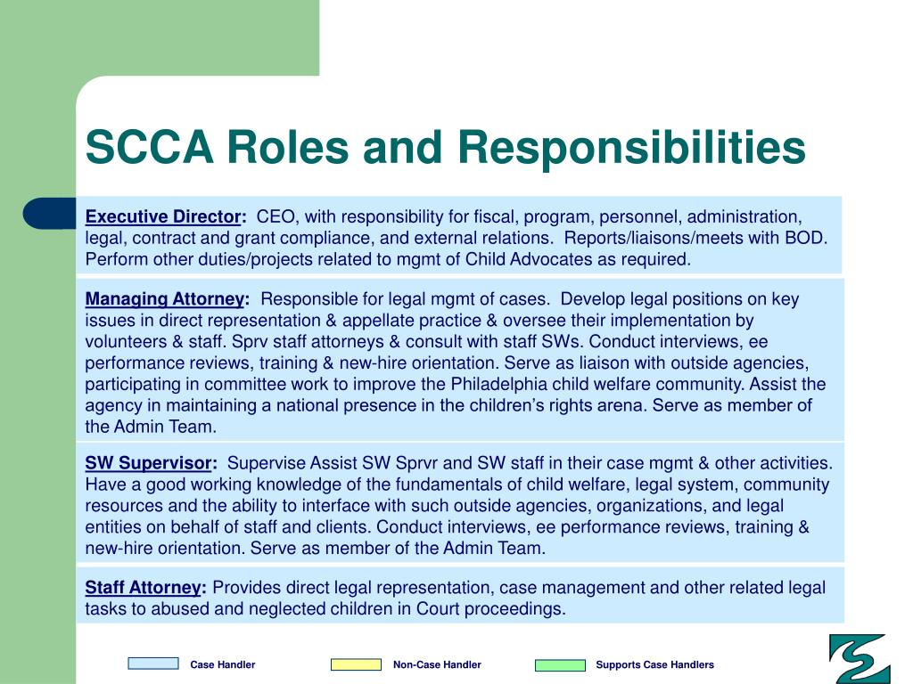 SCCA Roles and Responsibilities