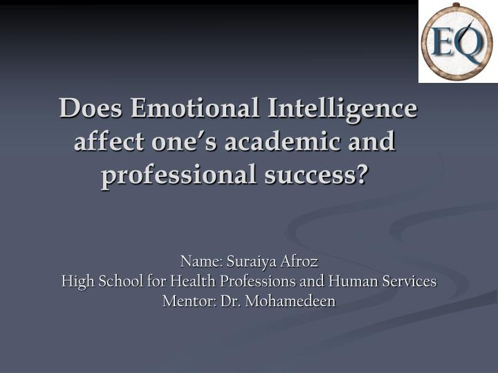 the affect on emotional intelligence on