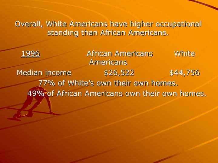 Overall, White Americans have higher occupational standing than African Americans.