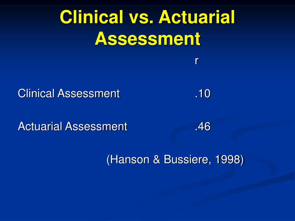 Clinical vs. Actuarial Assessment