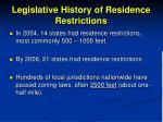 legislative history of residence restrictions