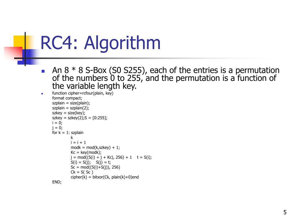 RC4: Algorithm