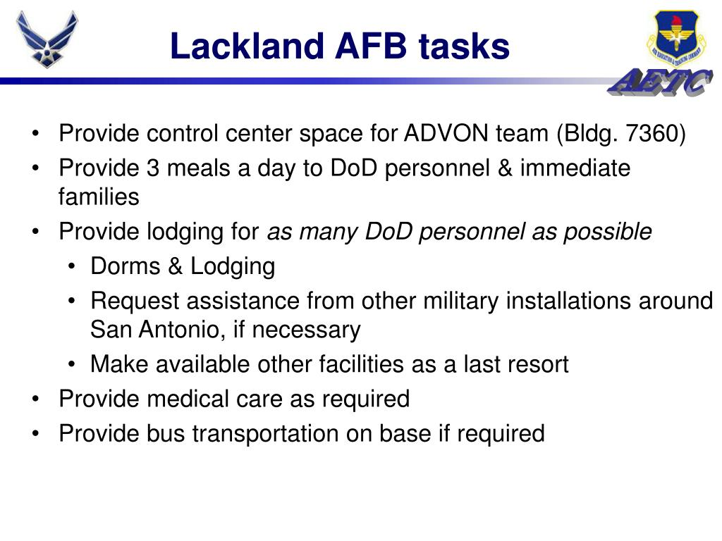 Lackland AFB tasks