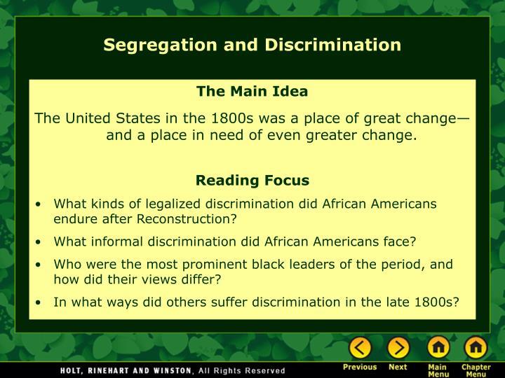 Segregation and Discrimination