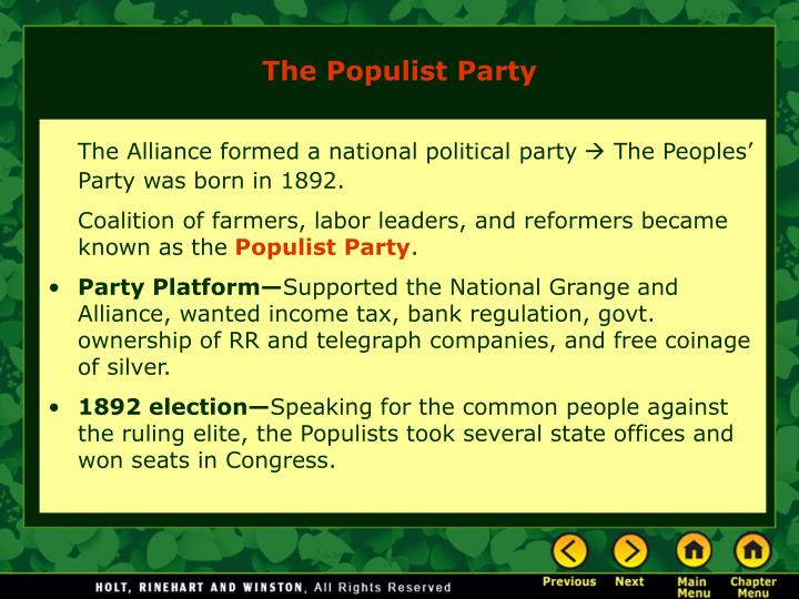 The Alliance formed a national political party