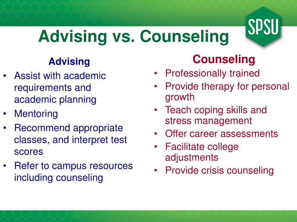 Advising vs. Counseling