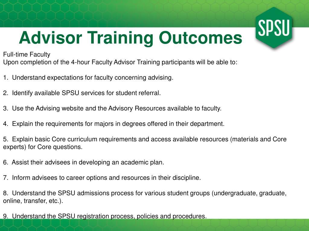 Advisor Training Outcomes