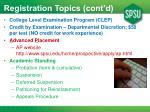 registration topics cont d