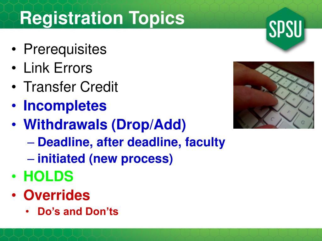 Registration Topics