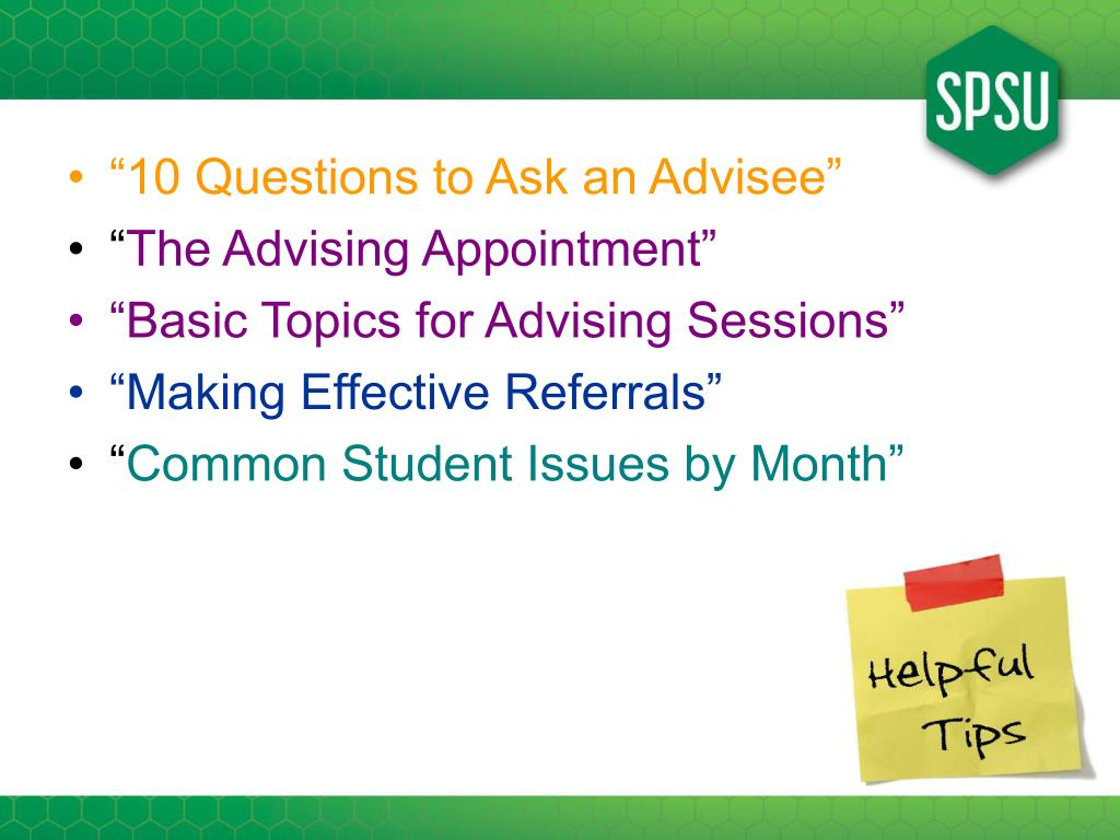 """""""10 Questions to Ask an Advisee"""""""