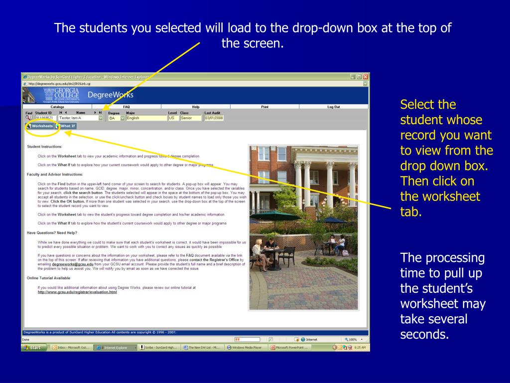 The students you selected will load to the drop-down box at the top of the screen.