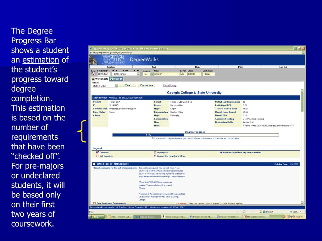 The Degree Progress Bar shows a student an