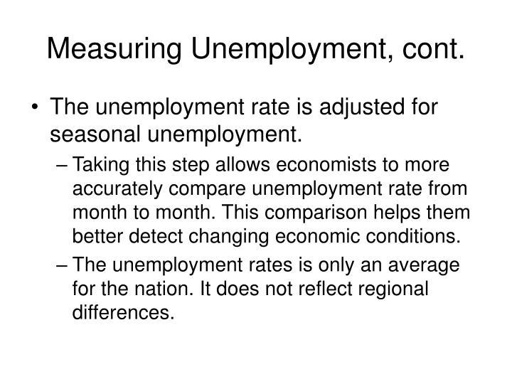 Measuring Unemployment, cont.