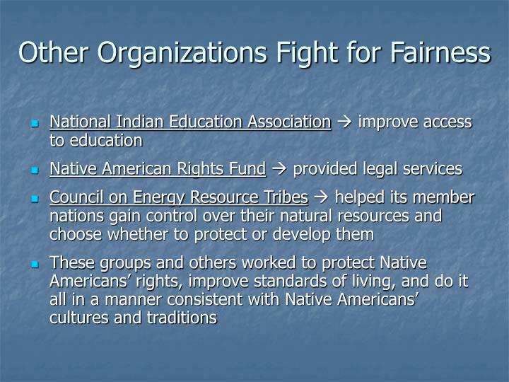 Other Organizations Fight for Fairness