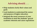 advising should