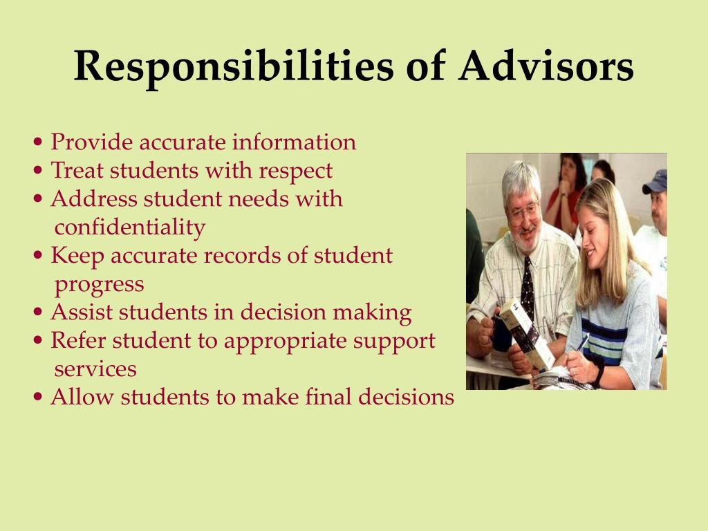 Responsibilities of Advisors