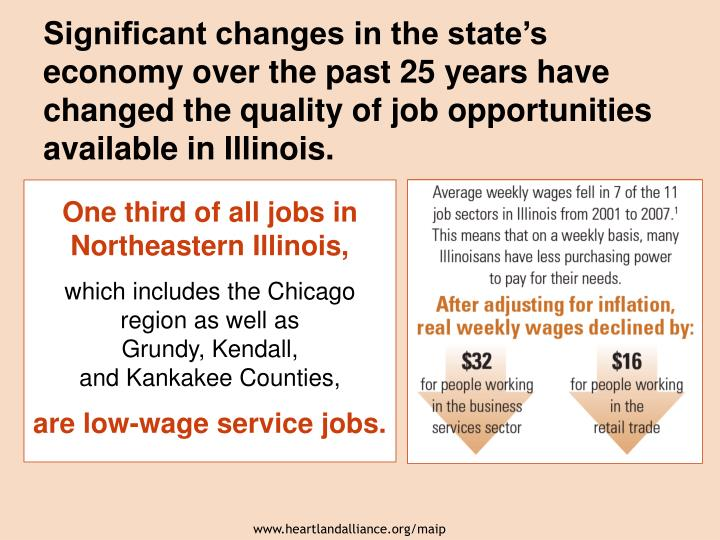 Significant changes in the state's economy over the past 25 years have changed the quality of job opportunities available in Illinois.
