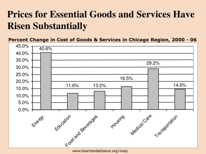 Prices for Essential Goods and Services Have Risen Substantially
