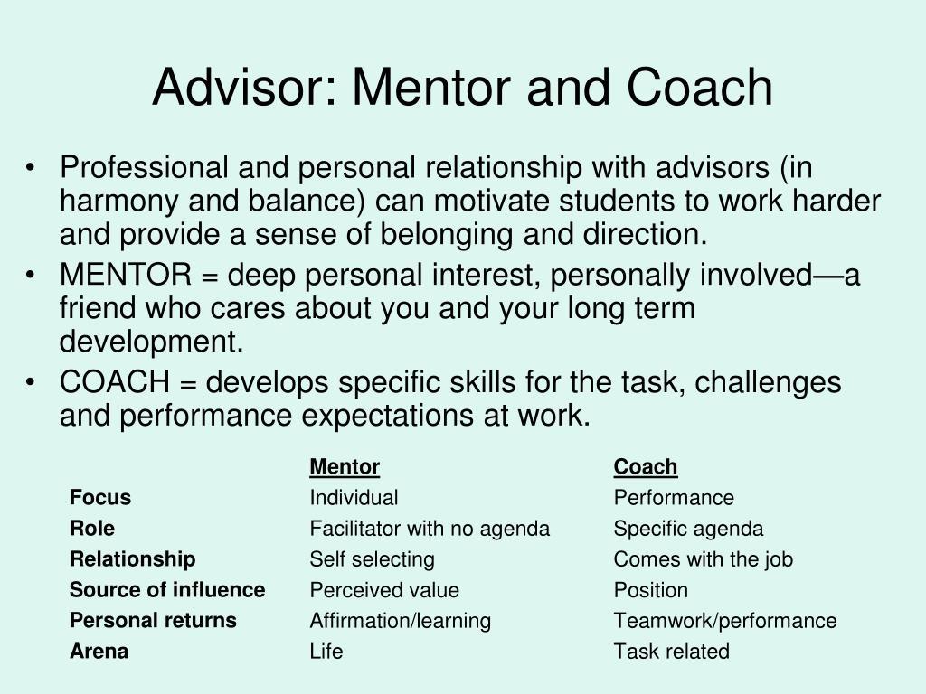 Advisor: Mentor and Coach