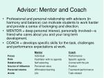 advisor mentor and coach