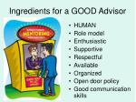 ingredients for a good advisor