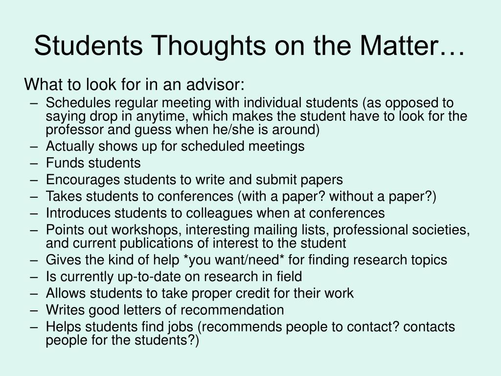 Students Thoughts on the Matter…