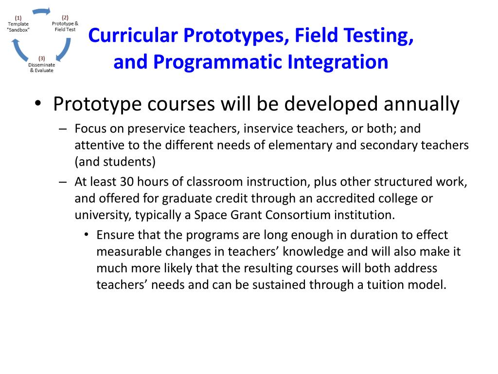 Curricular Prototypes, Field Testing, and Programmatic Integration
