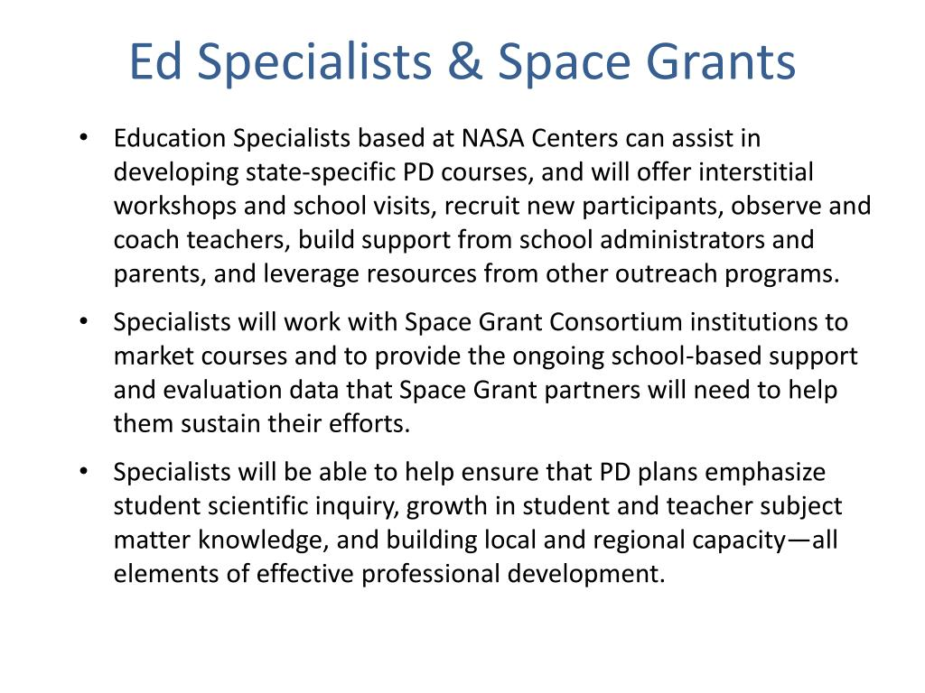 Ed Specialists & Space Grants