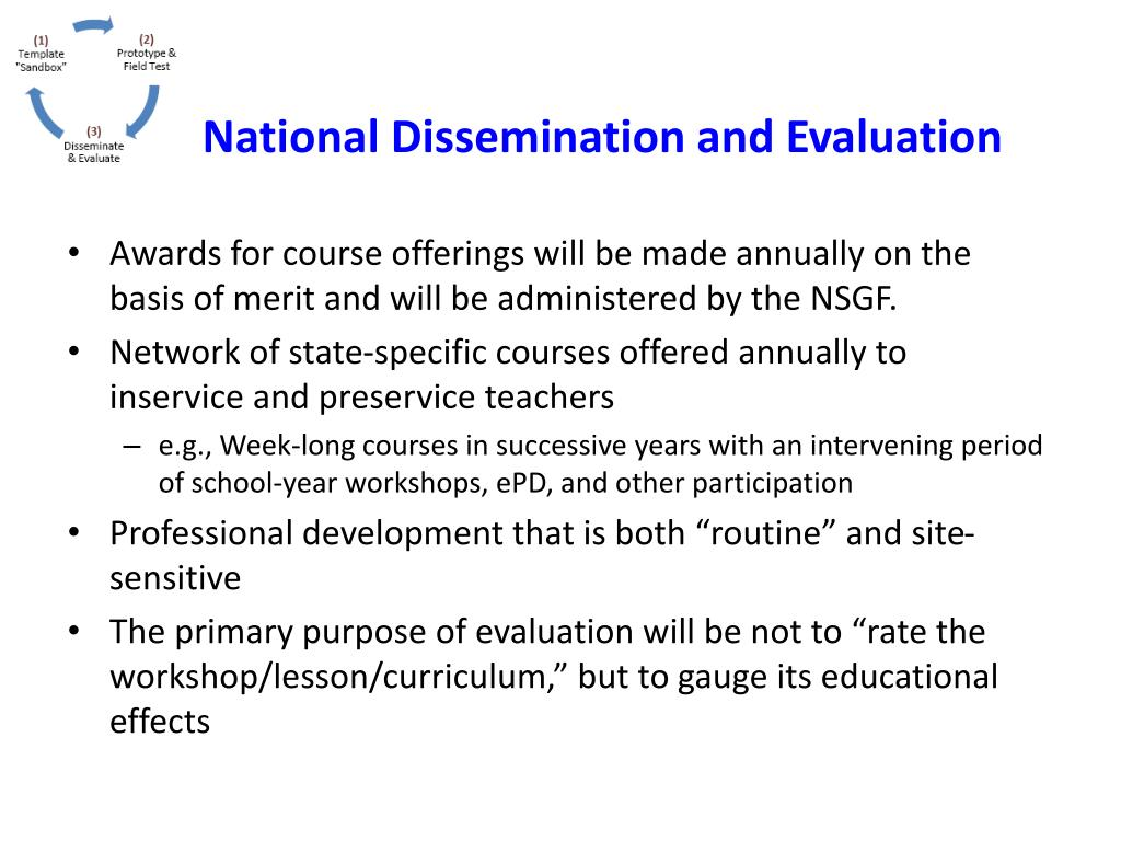 National Dissemination and Evaluation