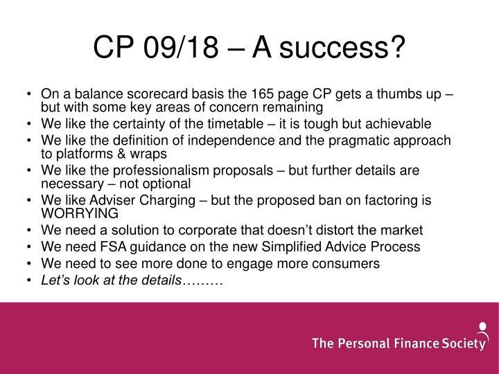 CP 09/18 – A success?