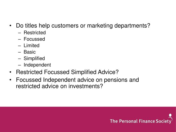 Do titles help customers or marketing departments?