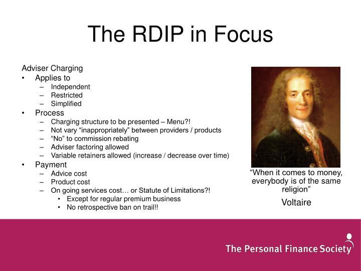The RDIP in Focus
