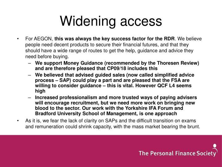 Widening access
