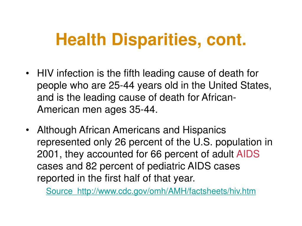 Health Disparities, cont.