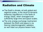 radiation and climate
