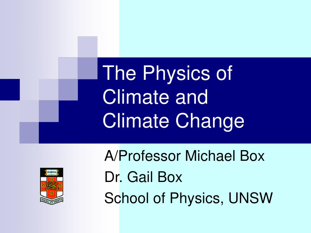 The Physics of Climate and
