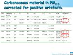 carbonaceous material in pm 2 5 corrected for positive artefacts