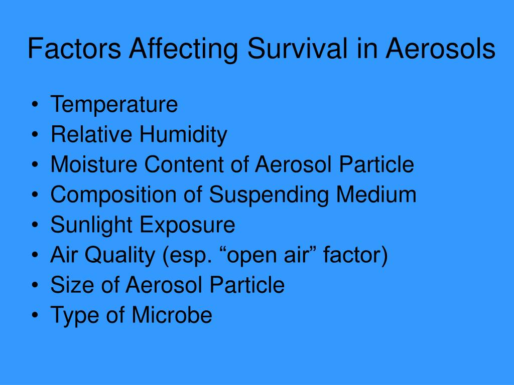 Factors Affecting Survival in Aerosols