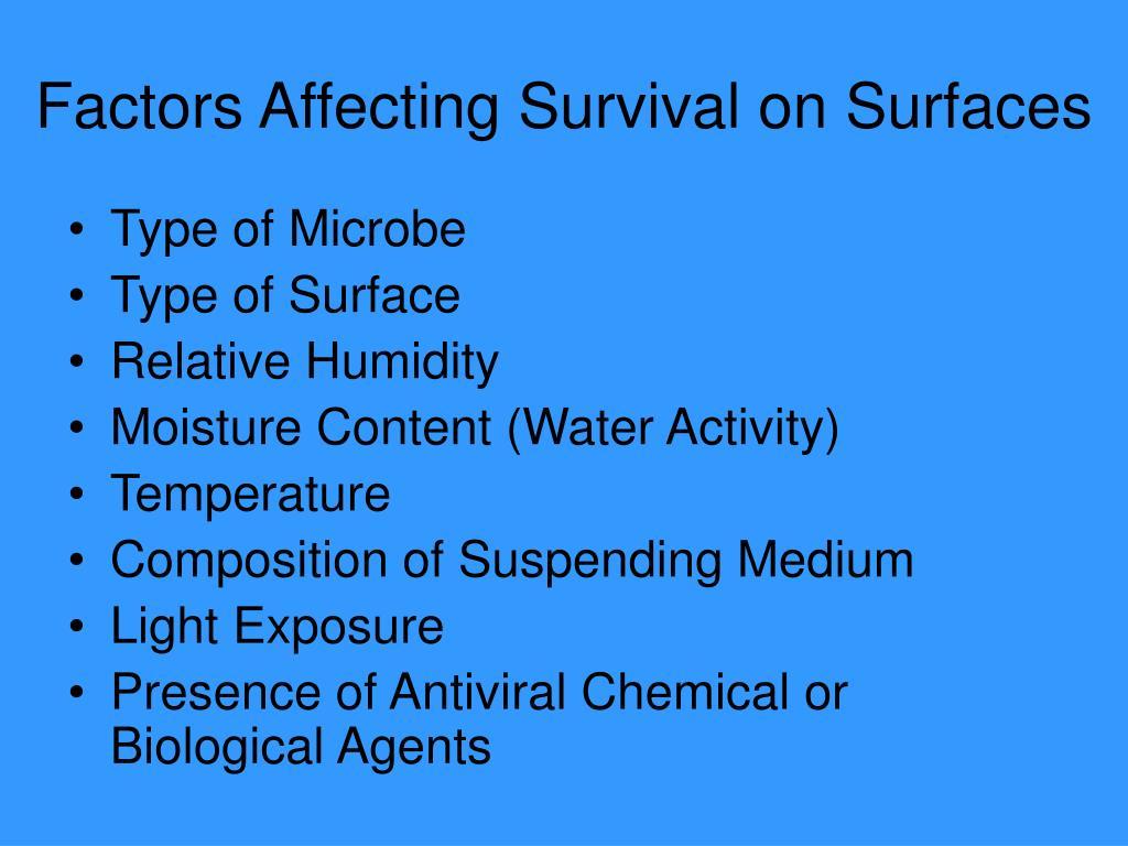 Factors Affecting Survival on Surfaces